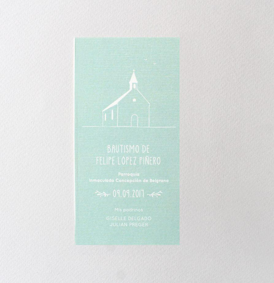Estampita de bautismo Francisco verde x 15 un.