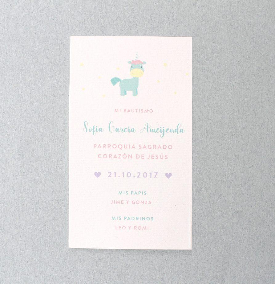 Estampita de bautismo Unicornio x 15 un.