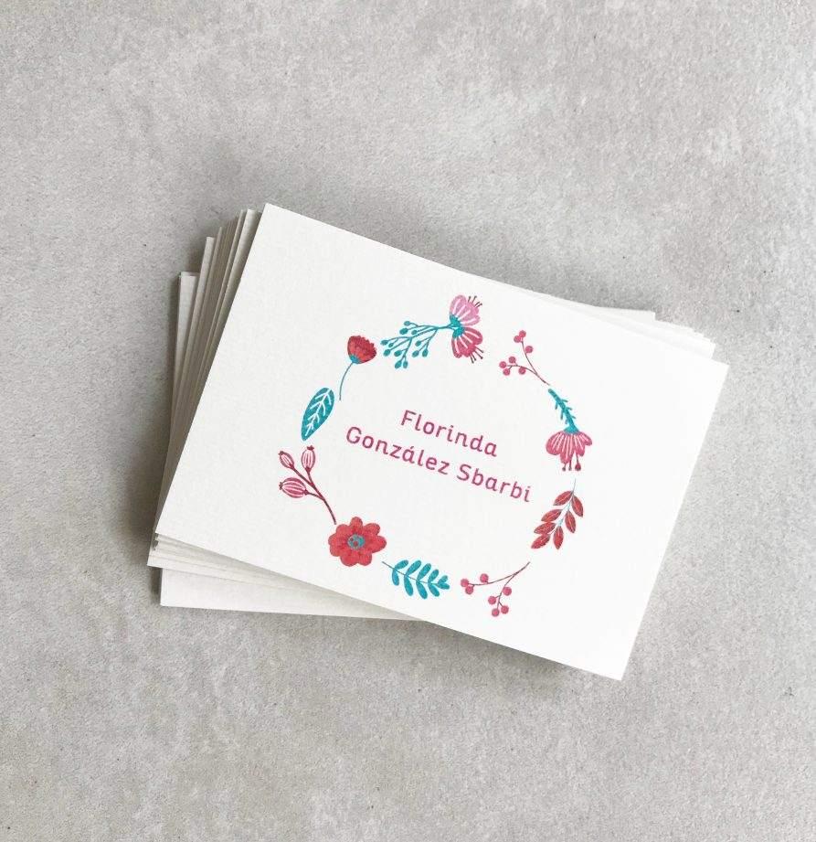 "Tarjeta personal para chicos ""Florinda"" x 50 u."