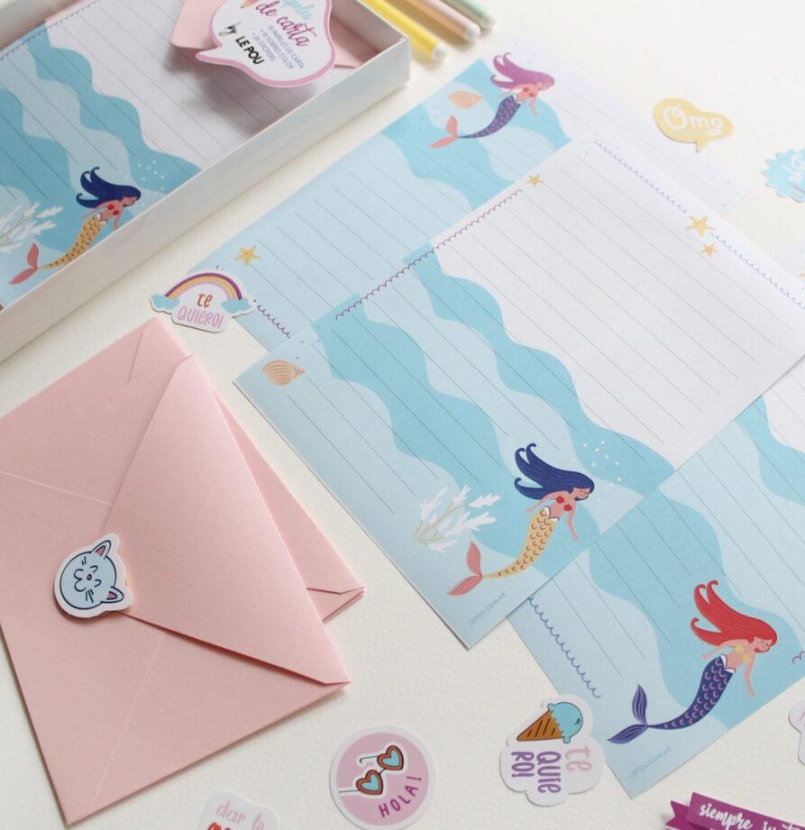 "Set de papeles de carta ""Sirena"""
