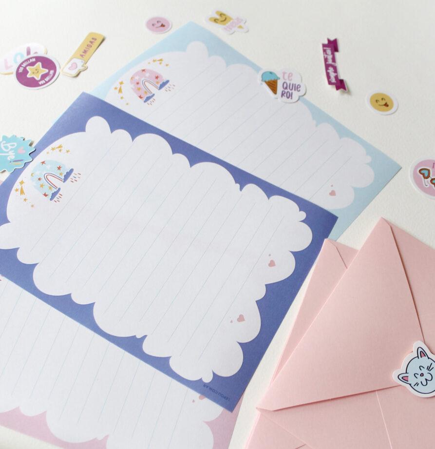 """Set de papeles de carta """"Arco Iris"""""""