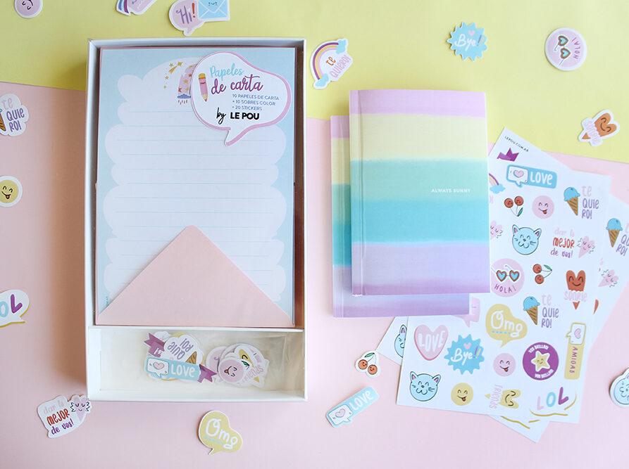 """Combo Set de papeles de carta """"Arcoiris"""" + 1 Cuaderno + 2 Planchas Stickers"""