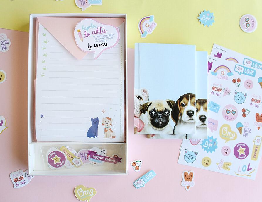 "Combo Set de papeles de carta ""Mascotas"" + 1 Cuaderno + 2 Planchas Stickers"