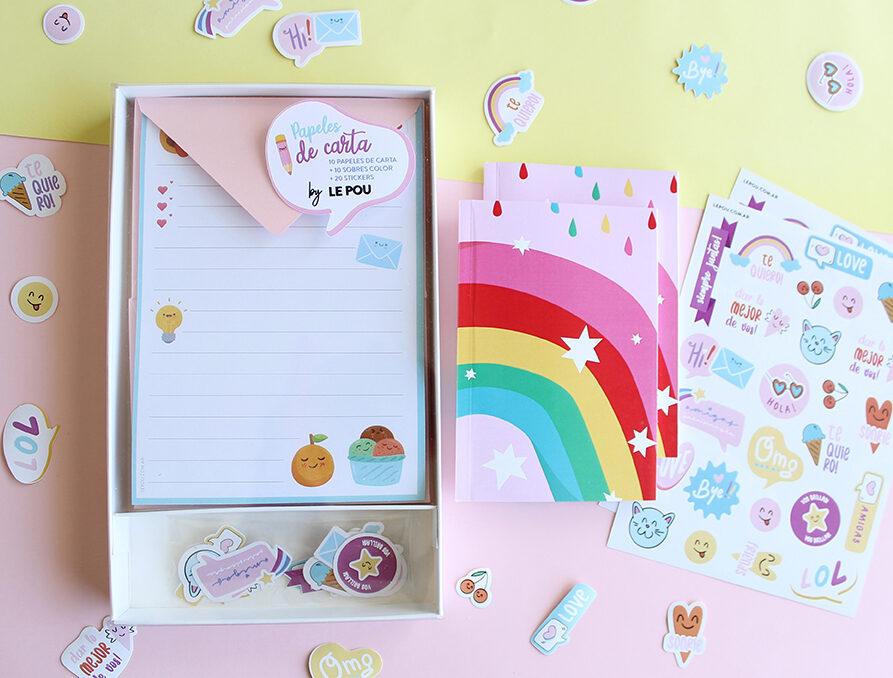 """Combo Set de papeles de carta """"Emoji"""" + 1 Cuaderno + 2 Planchas Stickers"""
