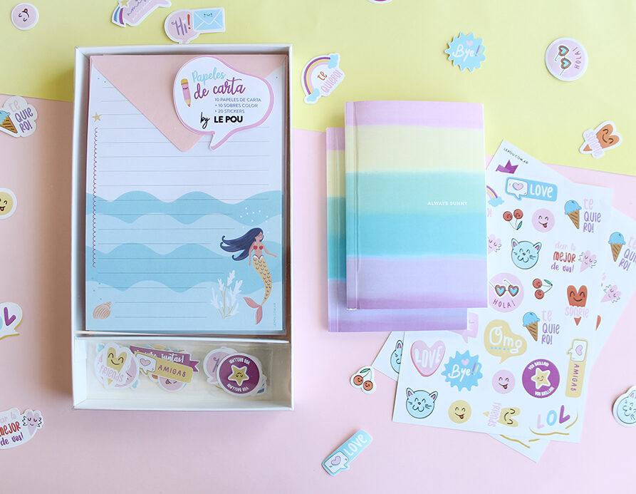 """Combo Set de papeles de carta """"Sirenas"""" + 1 Cuaderno + 2 Planchas Stickers"""