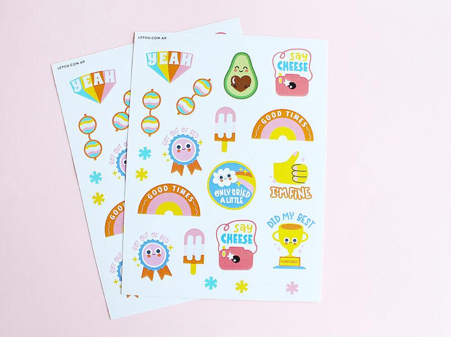 Stickers x 46u. Hippie Style (2 planchas)