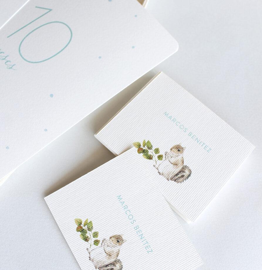 """Regalo Recien Nacido """"Bosque"""" – Tarjetones 12 Meses + 50 Tarjetas personalizadas"""