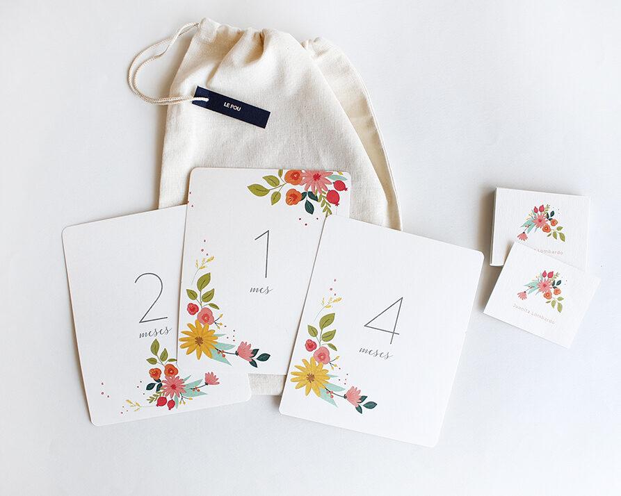"""Regalo Recien Nacido """"Spring"""" – Tarjetones 12 Meses + 50 Tarjetas personalizadas"""
