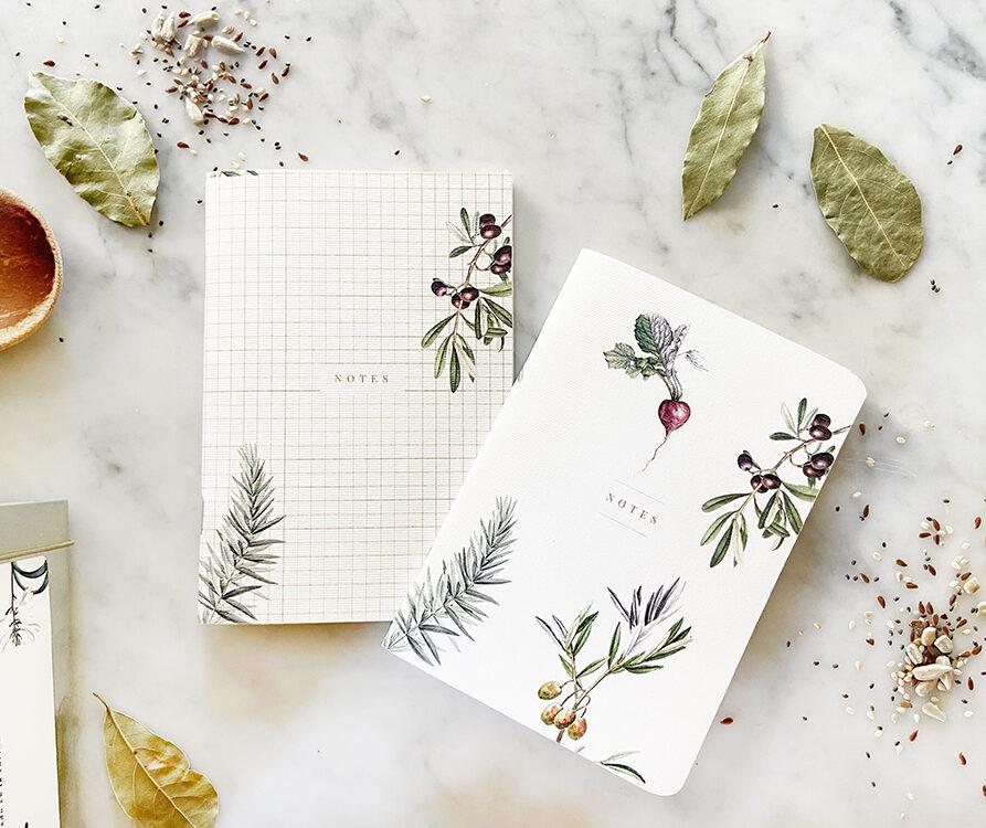 Set de 2 mini Notebooks Linea Botanica