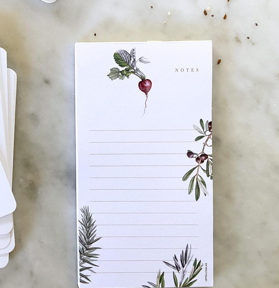 Combo Que comemos hoy? Recetario + 2 notebooks + Block Linea Botanica